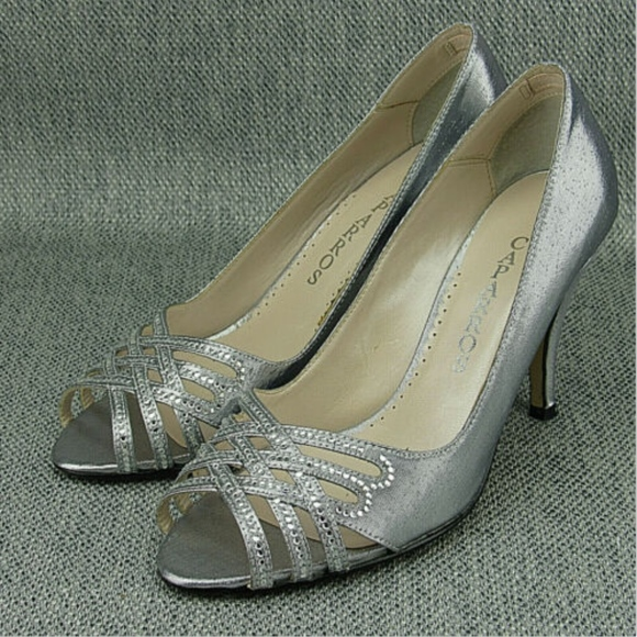 Caparros Silver Sparkle Rhinestone Peep Toe Heel